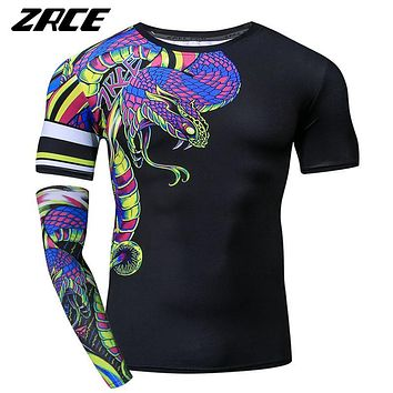 ZRCE Funny Tshirt Men 3D Snake Print Compression Shirt Cosplay Custom Workout Streetwear Plus Size Male Fitness Brand Clothing