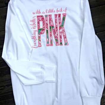 Lilly Pulitzer inspired, Long Sleeve, Monogrammed Everything Pink Tee