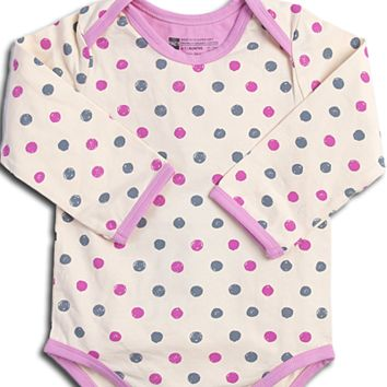Organic Cotton Baby Onesuit, Long Sleeve - Pink Dots