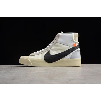 Off-White x Nike Blazer Studio Mid Black White Gray The Ten