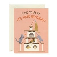 """Playful Cats Birthday Card - """"Time to Play, It's Your Birthday!"""""""