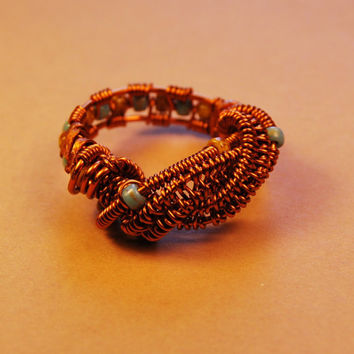Wire Wrap Ring - Blue Yellow Beads - Cooper Wire - Any Size - Jewelry - Rings