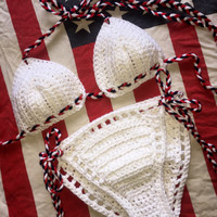 4th of July bikini set, crochet bikini set, red white and blue bikini, crochet top, READY TO SHIP, size small