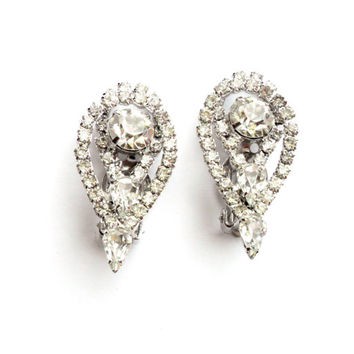 Vintage Large Rhinestone Earrings Clip On Bridal Wedding Sparkling Clear Ice Glass Teardrop Formal Bride Something Old Silver Tone