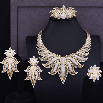 Crown Leaf Leaves Wedding Red Cubic Zirconia Statement Necklace Earrings Jewelry Set