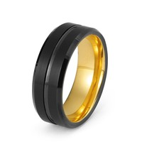 Black Tungsten Ring Yellow Gold Wedding Band Ring Tungsten Carbide 8mm 18K Tungsten Ring Man Wedding Band Male Women Anniversary His Hers Matching Promise Beveled Edges