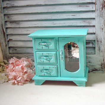 Aqua Vintage Jewelry Box, Small Teal Vintage Jewelry Chest, Shabby Chic Jewelry Holder, Nursery Decor, Gift Ideas, Baby Girl Jewelry Box