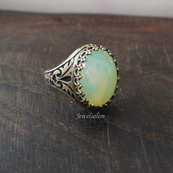 Mint Green Ring Chrysolite Opal Glass Ring Seafoam Vintage Style Antique Brass Modern Victorian Jewelry Gift Ring Statement Friendship Ring