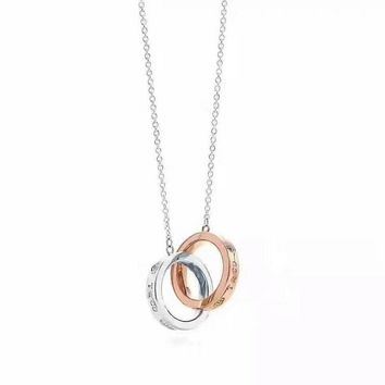 Tiffany fashion trend classic double ring color necklace