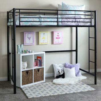 Premium Metal Black Twin Loft Bed