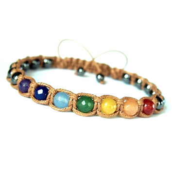 7 Chakras Yoga Unisex Shamballa Bracelet, Multicolor Natural Stone Jade Hematite, Rainbow Camel Brown Adjustable Mens Womens Bracelet