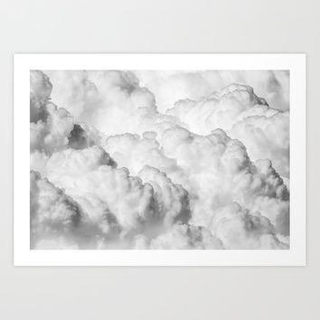 White Clouds Art Print by typeitout