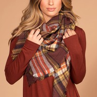Ryan Plaid Rust Blanket Scarf