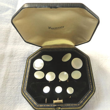 Krementz Art Deco Tuxedo Set, Mother of Pearl Cuff Links Stud Set Gold Plate Original Box, Wedding Groom Gift