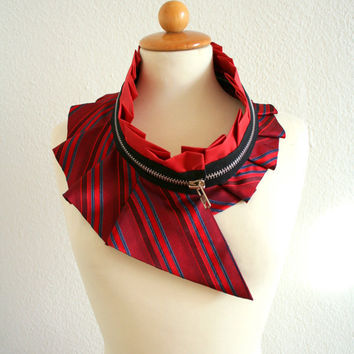 Collar with zipper  ecofriendly  upcycled quality silk by Bartinki