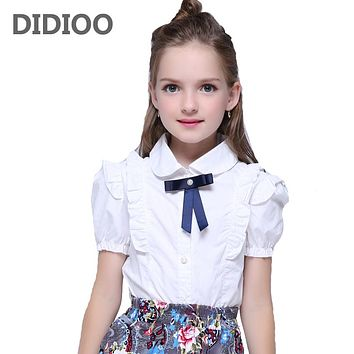 Summer Girls Blouse Kids Baby Girl Clothes Cotton Tops Lace School White Blouses For Girls Short Shirts Children Clothing