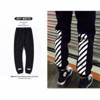 Tide brand off white simple striped printed leisure sports Weiwei Trousers pants tide