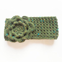 Chunky Crochet Winter Headband in Olive Tweed with Extra Large Rose, ready to ship.
