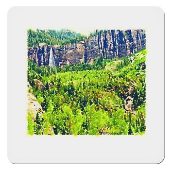 """Colorado Cliffs Watercolor 4x4"""" Square Sticker by TooLoud"""