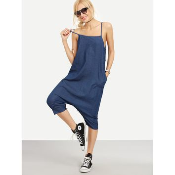 Buttoned Drop Crotch Blue Denim Overall Pants