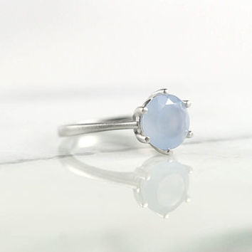 Silver Blue Chalcedony Gemstone Ring