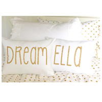 Decorative Throw Pillow with Insert -  with Gold or Silver Glitter Vinyl Letters - DREAM, SPARKLE, or Customizable Name