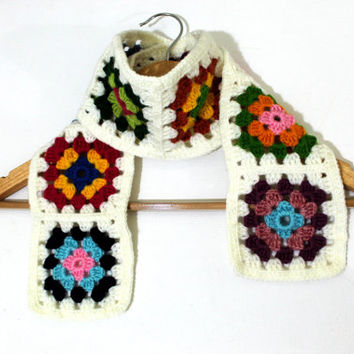 Granny Square Scarf / Colorful / Handmade Square scarf / Valentines day / Mother's Day Gift