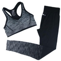 Women Two Piece Fitness Crop Top and Pants Set Sweatsuit Tracksuit Striped Outfit Playsuit
