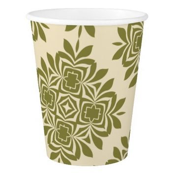 Green Mint Damask Pattern Paper Cup