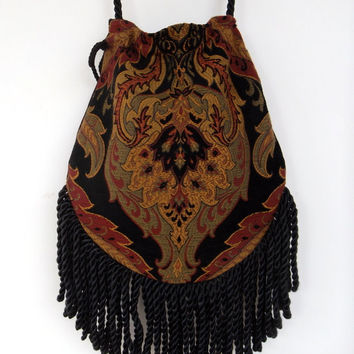 Fringed Tapestry Gypsy Bag Black Cross Body Bag Bohemian  Indie bag renaissance bag