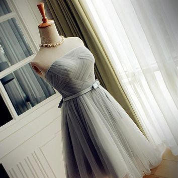 Silver Grey Bridesmaid Dresses Short Knee Length Tulle Graped Vestido De Festa De Casamento Vestido De Festa Curto Party Dresses