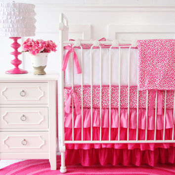 Girly Pink Leopard Ruffle Designer Baby Bedding