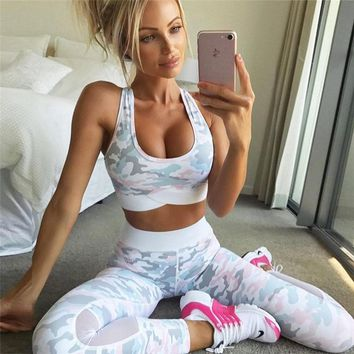 Two Piece Yoga Sets Gym Fitness Sportwear Women Training Running Leggings Jogging Crop Tops Sport Bra & Tight Workout Suit