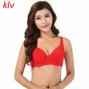 Multicolor Women Push Up Deep V Ultrathin Underwire Padded Appliques Lace Brassiere Bra Adjustable Straps Bralette Soutien Gorge