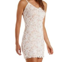 Ivory Combo Nude-Lined Lace Bodycon Dress by Charlotte Russe