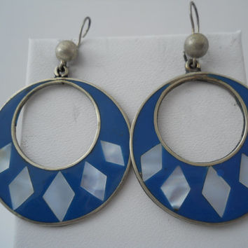 Sterling Silver 925 Large Circle Earrings MOP Mother Of Pearl Inlay Hecho En Mexico