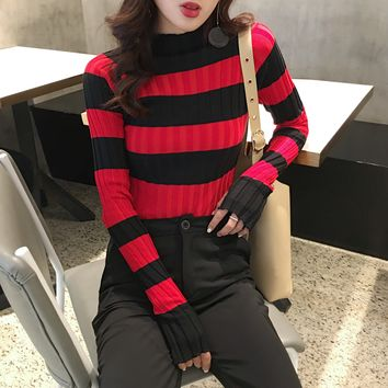 Women Half Turtleneck Multicolor Stripe Pullover Sweater Long Sleeve Show Thin Bodycon Knitwear Bottoming Shirt Tops