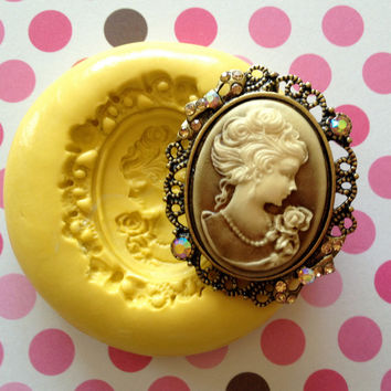 Vintage Lady Cameo Silicone Mold/ Mould Cake Decoration, Jewelry, Rinse, Clay, Cold Porcelain, Cupcake Topper, Charms, Scrapbook Craft Decor