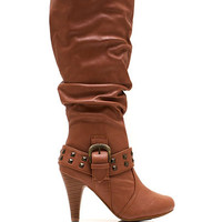 Slouchy-Pyramid-Studded-Boots BLACK CHESTNUT TAUPE - GoJane.com