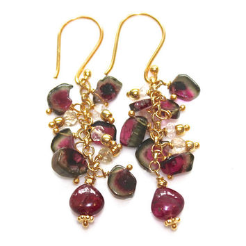 Watermelon Tourmaline Slice Earrings Cascade Gold Artisan Gemstone Jewelry