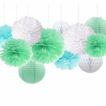 Aqua Mint White Birthday Party Decoration Set-Baby Shower Party Set for Boys, Paper Lantern| Mint Baby Shower | Boy's Party Theme