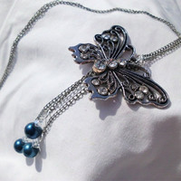 "Silver Necklace with Ornate Silver Butterfly Charm, Triple Chain Accent, ""Adrianna"""
