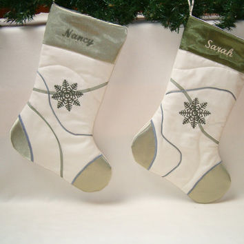 Green snowflake christmas stocking embroidered quilted original organic  Cottage Chic HET