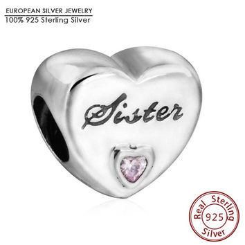 100% Authentic 925 Sterling Silver Pink CZ Sister Love Heart Charm Beads Fit Pandora B