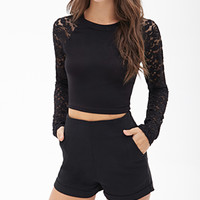 FOREVER 21 High-Waisted Woven Shorts Black