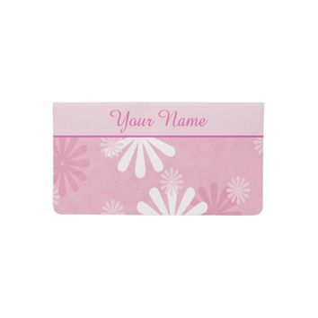Pink White Flowers Pattern Checkbook Cover