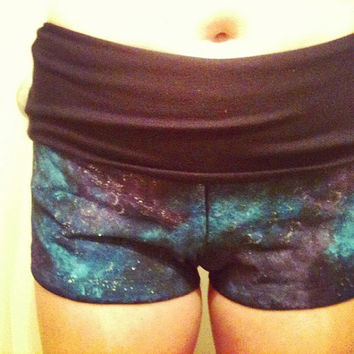 Galaxy Yoga Shorts Galaxy Clothes Galaxy Clothing Womens Shorts Yoga Clothes Workout Shorts Dance Shorts Yoga Shorts Dance Clothes