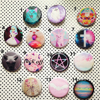 14 Cute 1.25 Pastel Goth Pinback Buttons Pick by GeekFreakBoutique