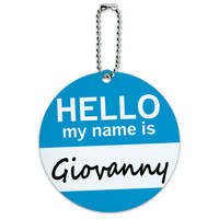 Giovanny Hello My Name Is Round ID Card Luggage Tag