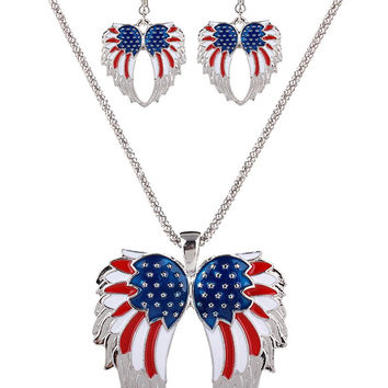 USA Flag Wings Necklace and Earrings